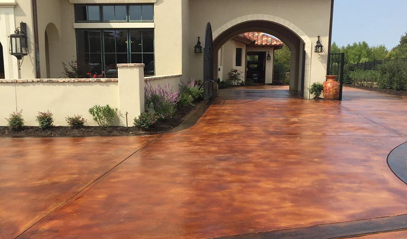 acide stained driveway